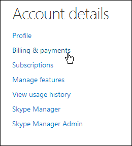 Billing and payment Skype