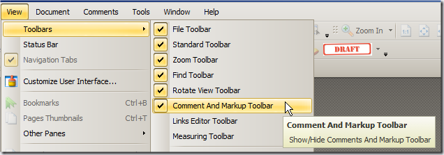 Tools bar pdf xchange viewer